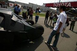 Mark Webber checks the new Batmobile