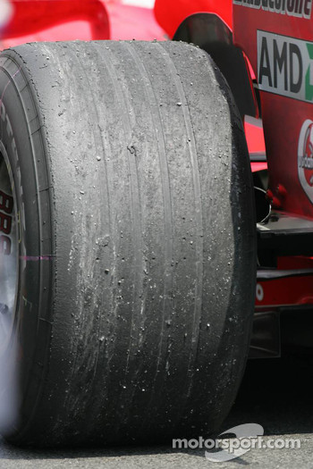 Wear on the Bridgestone tire of Michael Schumacher