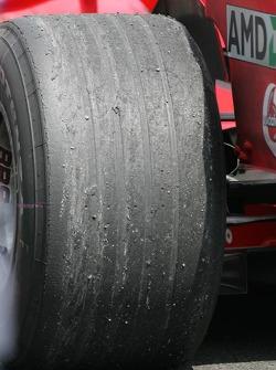 Wear on the Bridgestone tire of Michael Schumacher