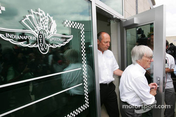 Ron Dennis and Bernie Ecclestone come out of the Michelin meeting