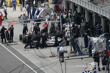 Juan Pablo Montoya pushed back in the garage