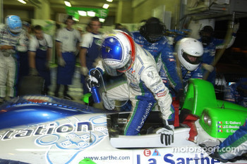 Emmanuel Collard jumps into the seat of the #16 Pescarolo