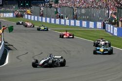 Restart: Juan Pablo Montoya leads Fernando Alonso
