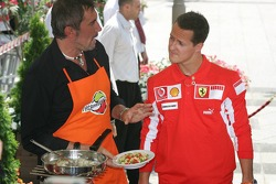 Vodafone event at the Intercontinental hotel: Michael Schumacher cooks food