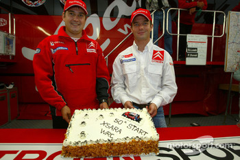 Sébastien Loeb celebrates the 50th start for the Citroën Xsara WRC