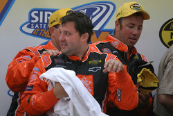 Victory lane: enough champagne for Tony Stewart