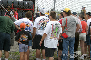 Fans watch garage activity