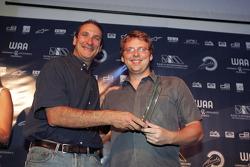 Bruno Michel presents the award for Best Media Support to Andy van de Burgt of Autosport Magazine