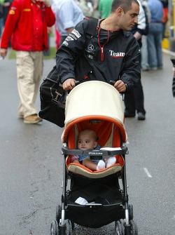 Juan Pablo Montoya with wife Connie and baby boy Sebastien