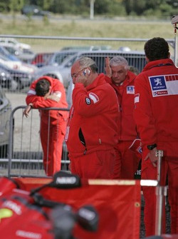 Scene at the rally HQ in Cardiff after the tragic accident: Jean-Pierre Nicolas