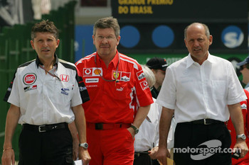 Nick Fry, Ross Brawn and Ron Dennis