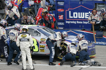 Jimmie Johnson in the pit for damage repairs