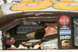 Victory lane: an exhausted Dale Jarrett