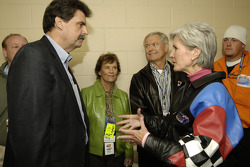 NASCAR president Mike Helton with Kansas City Chiefs coach Dick Vermeil and Kansas governor Kathleen Sebelius