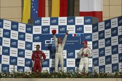 Podium: race winner Nico Rosberg with Ernesto Viso and Alex Premat
