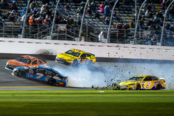 Sam Hornish Jr., Richard Petty Motorsports Ford and Alex Bowman, Tommy Baldwin Racing, Jeb Burton, BK Racing Toyota, David Gilliland, Frontrow Motorsports Ford in trouble