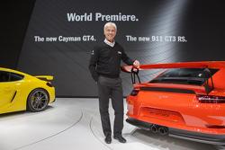 Chairman of the Executive Board of Porsche AG Matthias Müller with the Porsche 911 GT3 RS