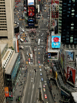 The 10 NASCAR cars drive through Times Square