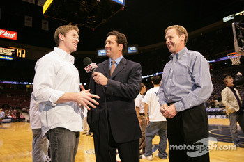 Carl Edwards and Rusty Wallace interview prior to the start of the game between the New Jersey Nets and the Detroit Pistons at the Continental Airlines Arena in East Rutherford, New Jersey