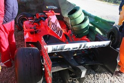 The wrecked car of Luca Badoer