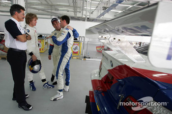 BMW race car training: Dr Mario Theissen, Sebastian Vettel, Nigel Mansell and Dirk Muller
