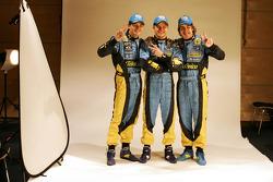 Giancarlo Fisichella, Heikki Kovalainen and Fernando Alonso