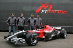 Markus Winkelhock, Roman Rusinov, Giorgio Mondini and Adrian Sutil pose with the new MF1 Racing M16