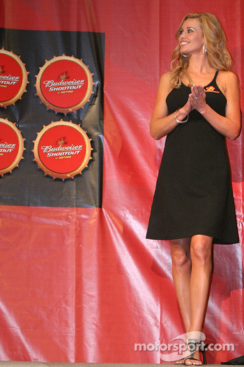 A charming Budweiser hostess on stage