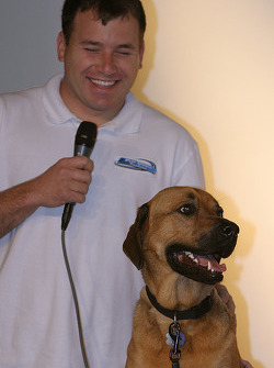 Pit Road Pets book presentation: Ryan Newman and pet dog