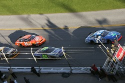 Green flag: Ken Schrader leads Jimmie Johnson and Tony Stewart