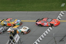 Green flag: Jeff Burton takes the lead in front of Dale Jarrett