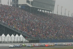 Ryan Newman leads the field down the superstretch