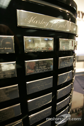 Detail of the Harley F. Earl Daytona 500 winner's trophy