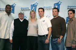 Jimmie and Chandra Johnson announce charitable foundation: Mike Rucker, Rick Hendrick, Chandra Johnson, Jimmie Johnson, Mike Hampton and Marcus Giles