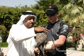 McLaren media breakfast at the Ritz Hotel: a Sheik, Kimi Raikkonen and a falcon