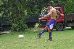 Michael Schumacher plays football