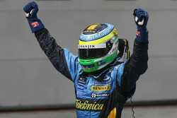 Race winner Giancarlo Fisichella celebrates
