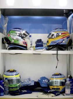Helmets of Giancarlo Fisichella and Fernando Alonso