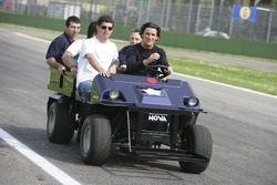 Jose Maria Lopez, Fairuz Fauzy, Giorgio Pantano and crew go for a track inspection