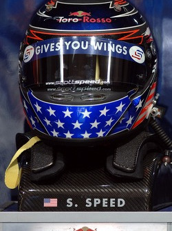 The helmet of Scott Speed