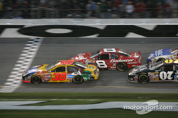 Elliott Sadler and Dale Earnhardt Jr. battle