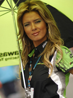 A lovely Kawasaki umbrella girl