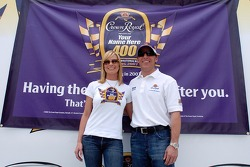 Actress Jaime Pressly teams with NASCAR driver Jamie McMurray to announce that the NASCAR NEXTEL Cup Series race next spring will be named after an adult fan who wins the Crown Royal