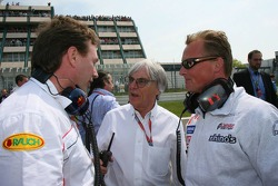 Christian Horner with Bernie Ecclestone and Johnny Herbert
