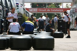 Michelin tires in the pit lane