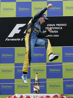 Podium: race winner Fernando Alonso celebrates