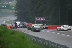 Multi-car collision on first lap between Eau Rouge and Kemmel