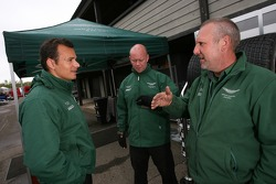 Stéphane Sarrazin talks with Aston Martin Racing team members