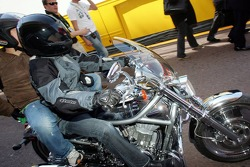 Arrival of Michael Schumacher on a Harley Davidson