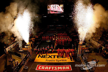 Fireworks go off during team introductions for the NASCAR Nextel Pit Crew Challenge